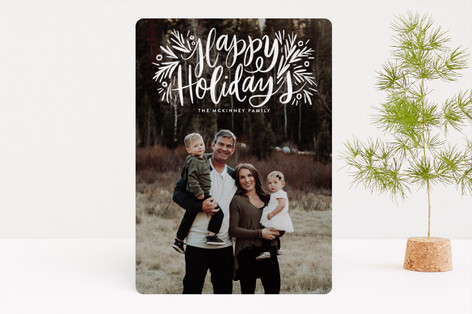 Painted Message Pine Christmas Photo Cards
