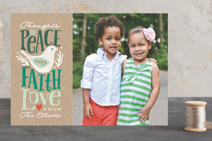 """Peace Faith Love"" - Animal, Bold typographic Christmas Photo Cards in fir by Karidy Walker."