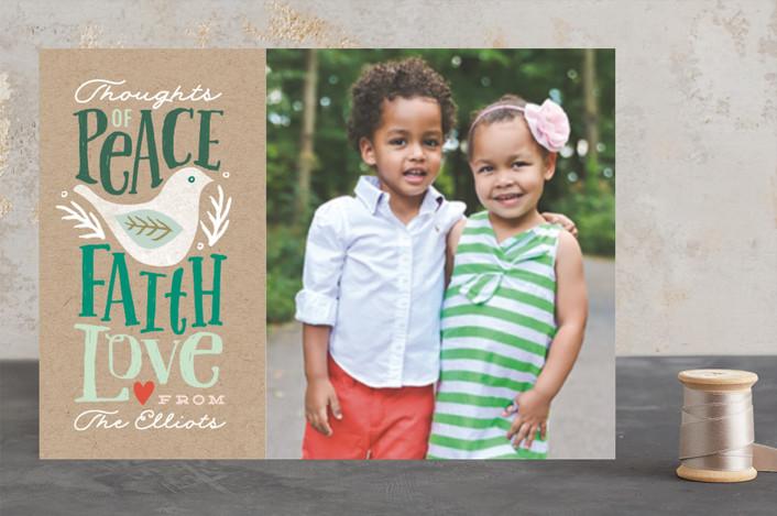 """Peace Faith Love"" - Animal, Bold typographic Christmas Photo Cards in fir by Karidy Walker."