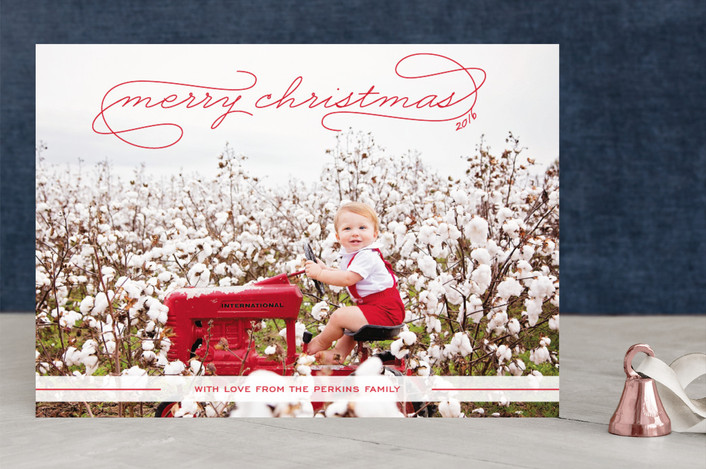 """""""Gallery Classic"""" - Elegant, Full-Bleed Photo Christmas Photo Cards in Bright Red by Sydney Newsom."""
