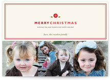 Holly Button Christmas Photo Cards