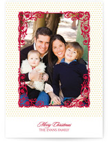 Polka Dot Frame Christmas Photo Cards