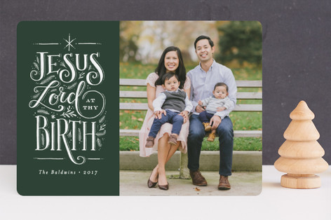 Jesus Lord at thy birth Christmas Photo Cards