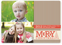 Vintage Striped Christmas Christmas Photo Cards