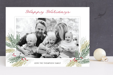 Pine Boughs Christmas Photo Cards