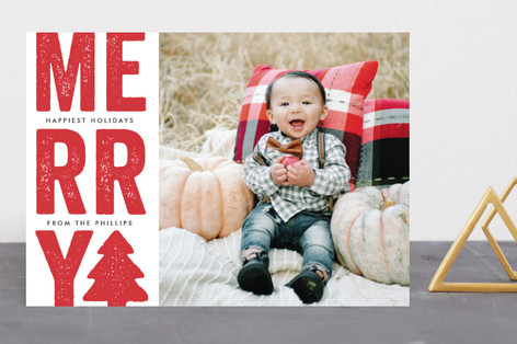 Bright and bold merry Christmas Photo Cards