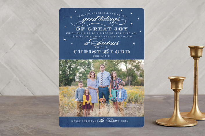 """Luke 2"" - Christmas Photo Cards in Blueberry by Jill Means."