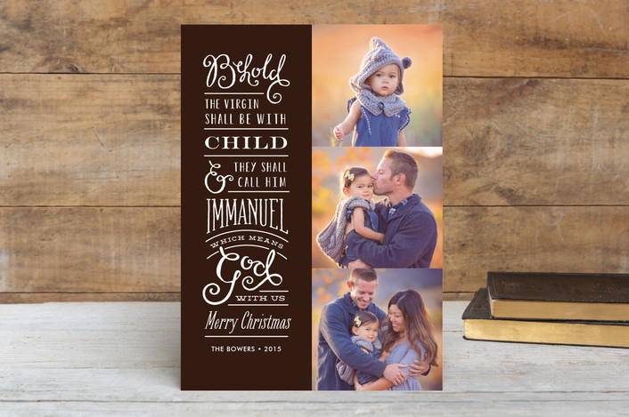 """God with Us"" - Photo Collage Christmas Photo Cards in Mocha by Jennifer Wick."
