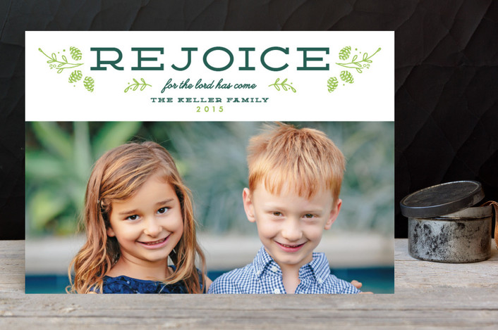 """""""Bold Rejoice"""" - Christmas Photo Cards in Snow by Dreaming Inspirations."""