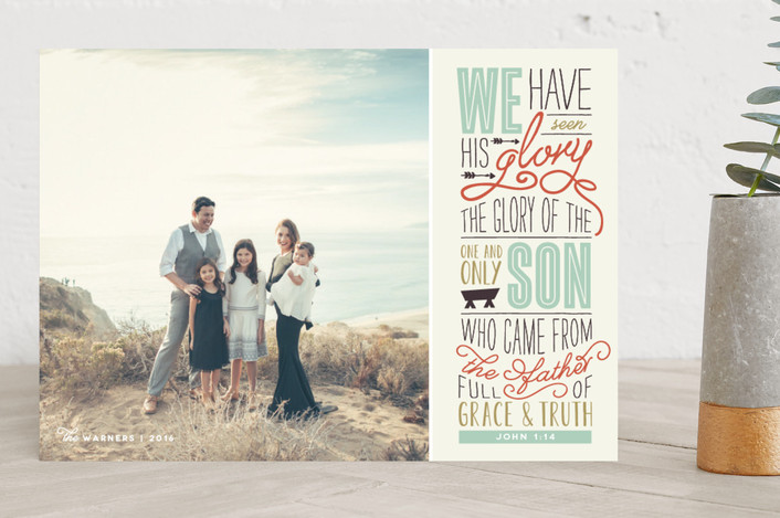 """""""John 1:14"""" - Bold typographic Christmas Photo Cards in Frost by Lesa Abney."""