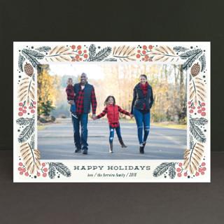 Foliage wreath Christmas Photo Cards