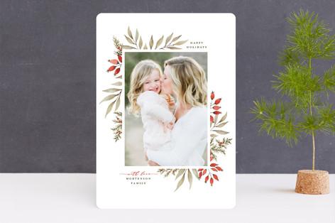 Elegant Floral Frame Christmas Photo Cards