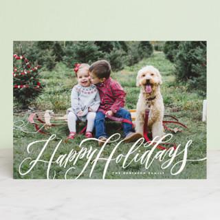 Elegant Script Merry Christmas Christmas Photo Cards
