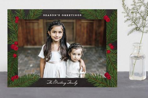 Pine Sprig Frame Christmas Photo Cards
