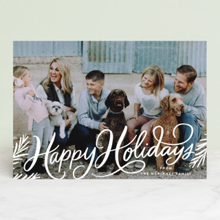 Classic Merry Christmas Pines Christmas Photo Cards