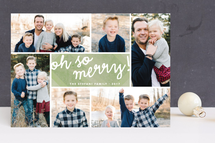 """""""Oh So Merry Collage"""" - Hand Drawn, Photo Collage Holiday Photo Cards in Cranberry by Wendy Van Ryn."""