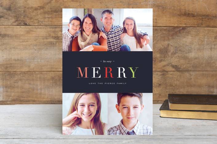 """""""Name in Brights"""" - Typography, Photo Collage Christmas Photo Cards in Night by kelli hall."""