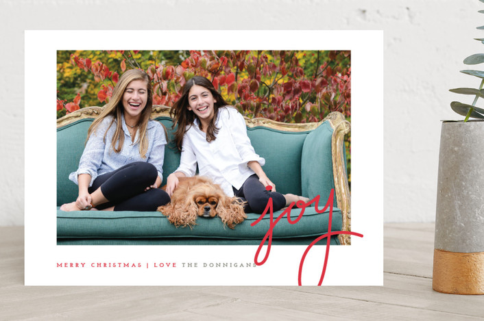 """""""Dotted Joy"""" - Elegant, Simple Christmas Photo Cards in Brick by Stacey Meacham."""