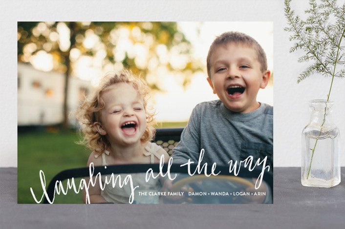 """""""Laughing All the Way"""" - Full-Bleed Photo, Bold typographic Christmas Photo Cards in Frost by Rebecca Turner."""