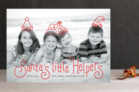 Santa's Little Helper Christmas Photo Cards