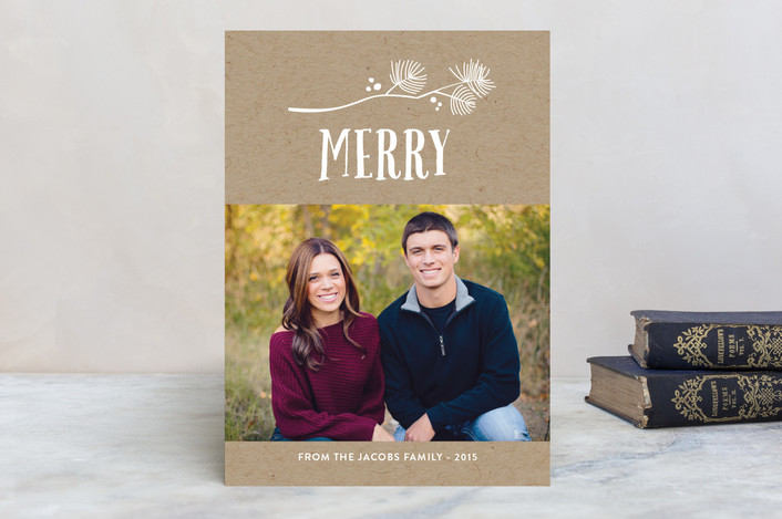 Noel Sprig Christmas Photo Cards