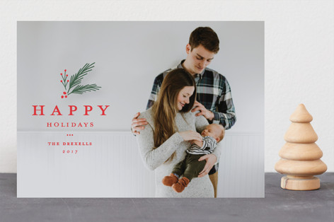 Classic foliage overlay Christmas Photo Cards