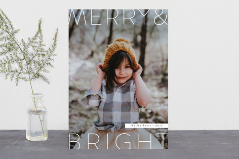 Modern O Holy Night Christmas Photo Cards