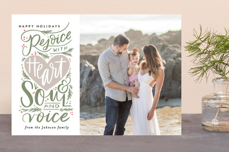 Rejoice with Heart and Soul and Voice Christmas Photo Cards