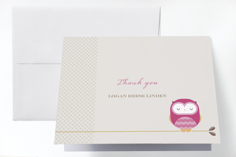 Sweet Owl Baptism and Christening Thank You Cards