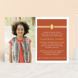Ribbon & Cross Confirmation Invitations