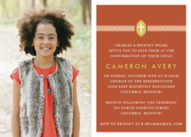 Ribbon &amp; Cross Confirmation Invitations
