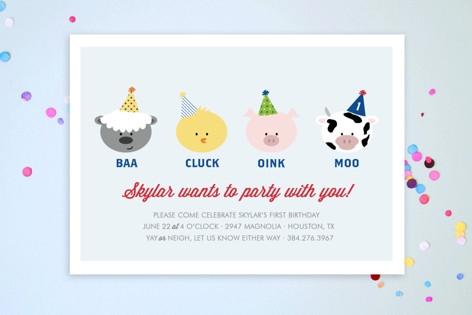 Barnyard Crew Children's Birthday Party Postcards