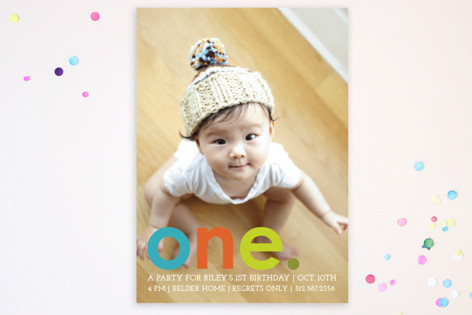 Colorful One Children's Birthday Party Postcards