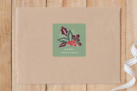 Pine Branch Berries Custom Stickers