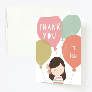 Pretty in Pink Childrens Birthday Party Thank You Cards