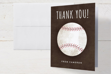 Baseball Birthday Childrens Birthday Party Thank You Cards