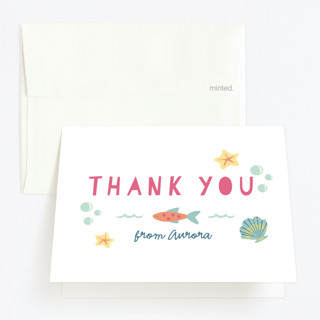 Sirena Childrens Birthday Party Thank You Cards