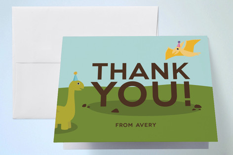 Dino Party Childrens Birthday Party Thank You Cards