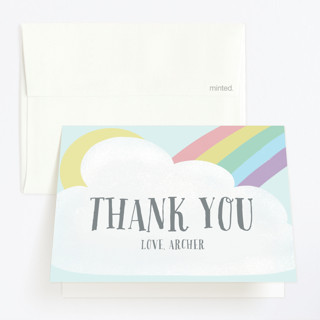 Rainbow Childrens Birthday Party Thank You Cards