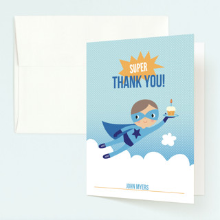 Super Birthday Boy Childrens Birthday Party Thank You Cards