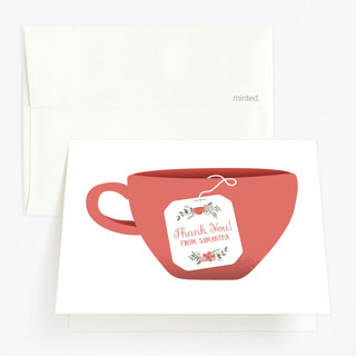 Modern Tea Party Childrens Birthday Party Thank You Cards