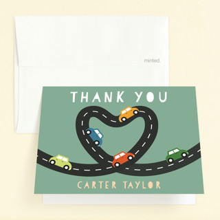 Little Racer Childrens Birthday Party Thank You Cards