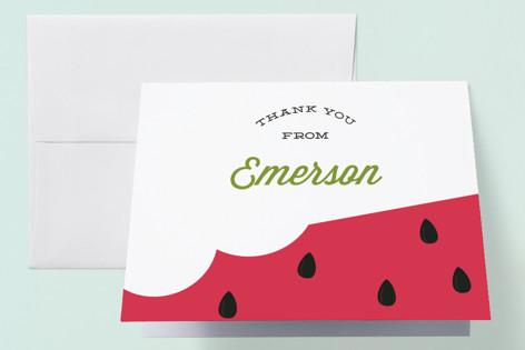 Summer Melon Childrens Birthday Party Thank You Cards