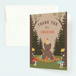 Teddy Bear Picnic Childrens Birthday Party Thank You Cards