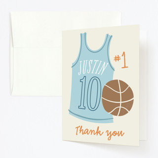 Basketball Star Childrens Birthday Party Thank You Cards