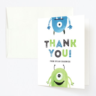 Monster Party Childrens Birthday Party Thank You Cards