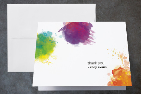Artist's Palette Childrens Birthday Party Thank You Cards