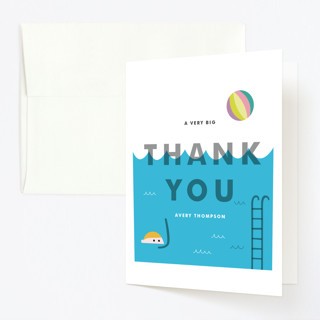 Cool Blue Pool Party Childrens Birthday Party Thank You Cards