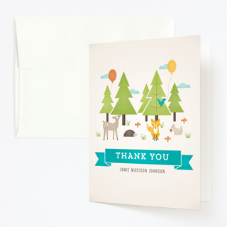 Wild Woodland Childrens Birthday Party Thank You Cards