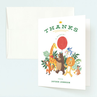 Animal Safari Childrens Birthday Party Thank You Cards